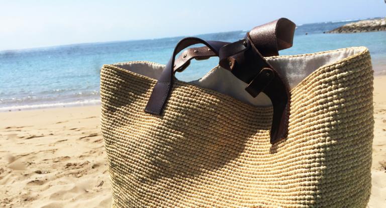 特大サイズ 天然ラフィアのビーチバッグ