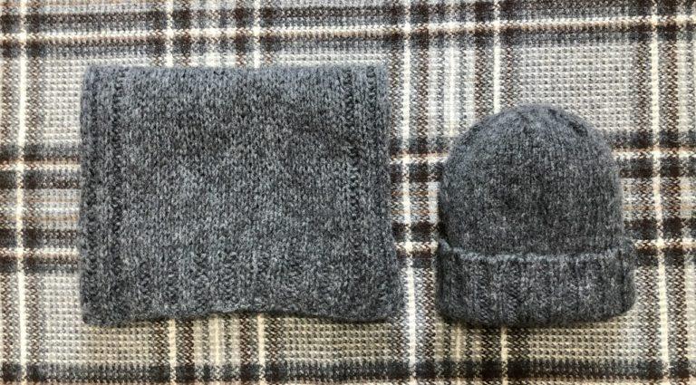 ウールタムで、シンプルなニット帽&マフラー