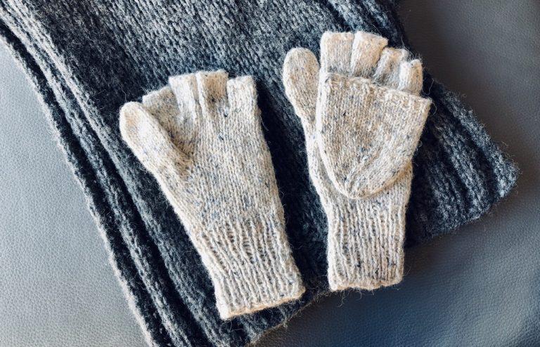 指カバーつき手袋(嶋田俊之さん『手編みのてぶくろ』)