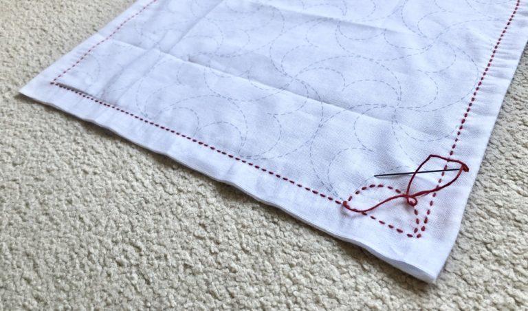 オリムパスの刺し子布で、久しぶりの刺し子