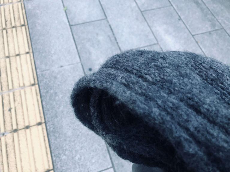 去年「ウールタム」で編んだマフラーを 使いはじめました